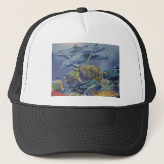 Dolphin Dance with Tropical Fish Trucker Hat