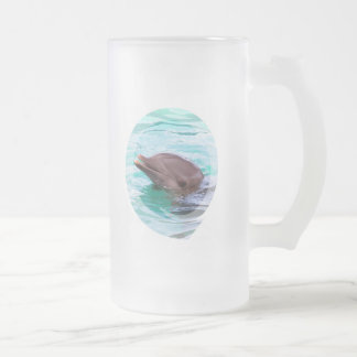 Dolphin Design Frosted Beer Mug