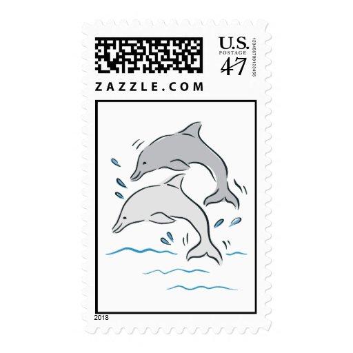Dolphin Dolphins Marine Mammals Blue Fish Animal Stamp