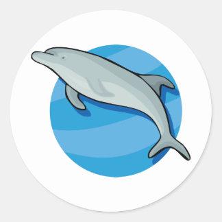 Dolphin Dolphins Marine Mammals Blue Ocean Animal Classic Round Sticker