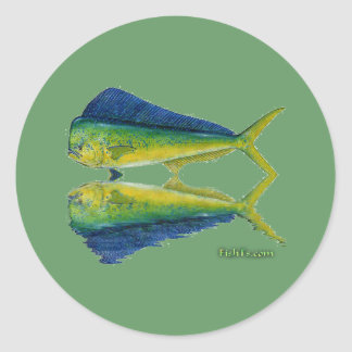 Dolphin,Dorado,MahiMahi with reflection Classic Round Sticker