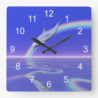 Dolphin Download Square Wall Clocks