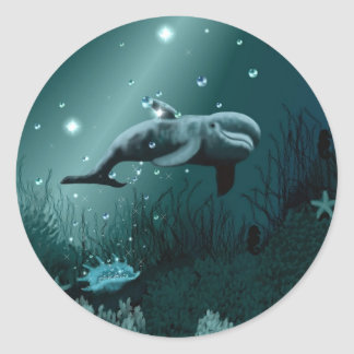 Dolphin Dream Classic Round Sticker