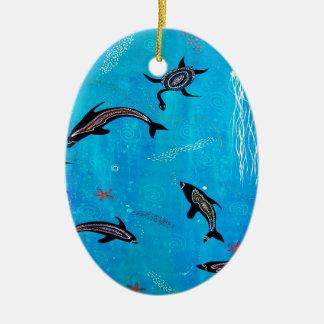 Dolphin Dreaming Ceramic Ornament