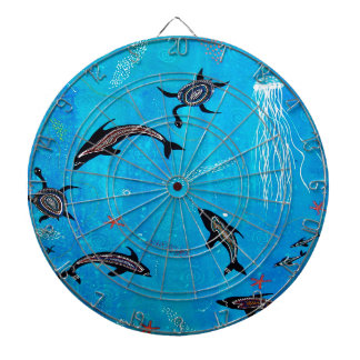 Dolphin Dreaming Dartboard With Darts