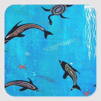 Dolphin Dreaming Square Sticker