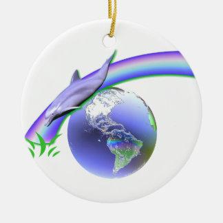 Dolphin Earth Day Ceramic Ornament