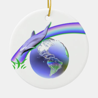 Dolphin Earth Day Double-Sided Ceramic Round Christmas Ornament