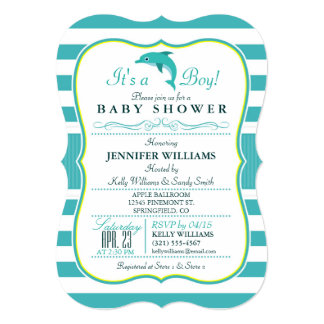 Dolphin, Elegant, Nautical Theme Baby Shower 5x7 Paper Invitation Card