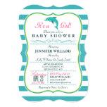 "Dolphin, Elegant, Nautical Theme Baby Shower 5"" X 7"" Invitation Card"