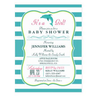 Dolphin, Elegant, Nautical Theme Baby Shower Postcard