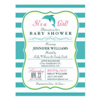 Dolphin, Elegant, Nautical Theme Baby Shower Postcard