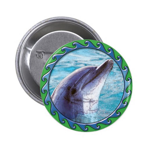 Dolphin Face Pinback Buttons