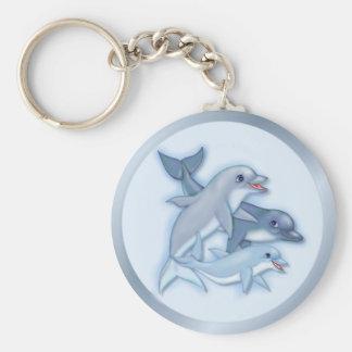 Dolphin Family Basic Round Button Keychain