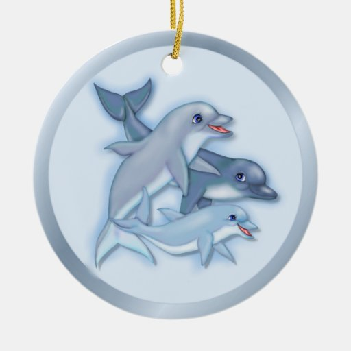 Dolphin Family Christmas Tree Ornaments