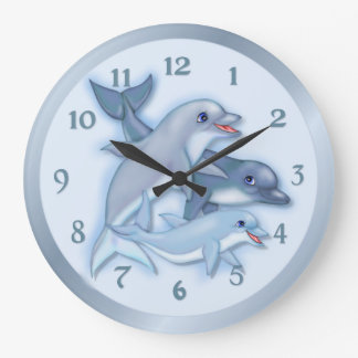 Dolphin Family Swimming Large Clock