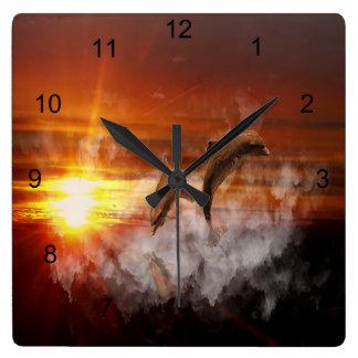 Dolphin Fantasy Square Wall Clock