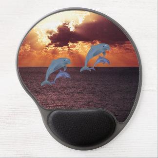 Dolphin Fish Dive Ocean Swim Beach Sunrise Sunset Gel Mouse Pad