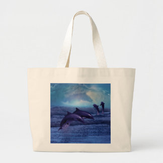 Dolphin fun and play large tote bag