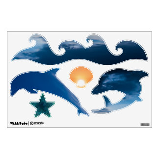 Dolphin Fun Blue 12x18 Wall Decal