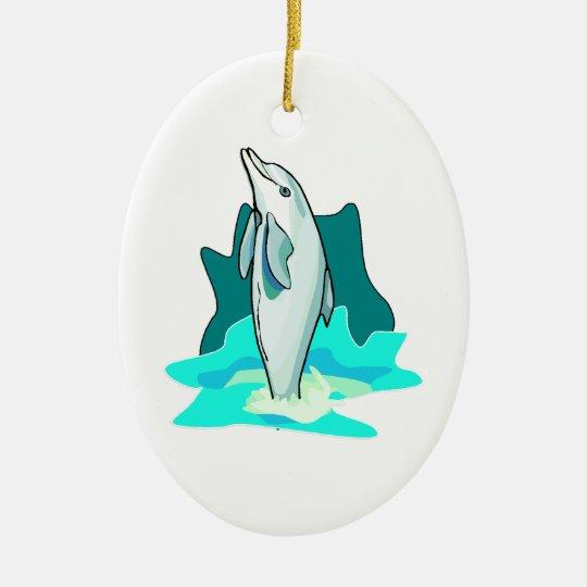 Dolphin Fun Ceramic Ornament