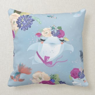 Dolphin Goldfish Roses Seaweed Large Throw Pillow