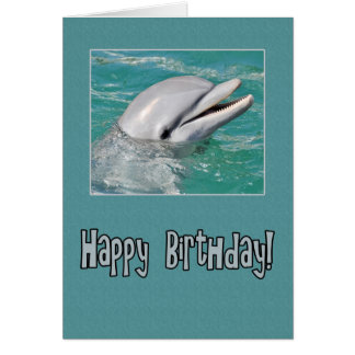 Dolphin Happy Birthday Swimming in Water Greeting Card