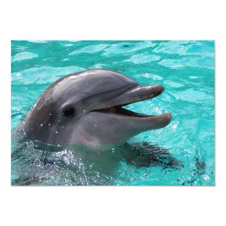 Dolphin head in aquamarine water 5x7 paper invitation card