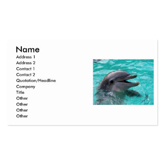 Dolphin head in aquamarine water Double-Sided standard business cards (Pack of 100)