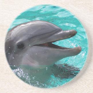 Dolphin head in aquamarine water drink coasters