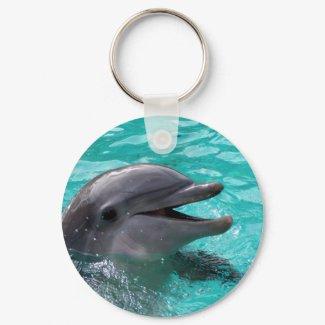 Dolphin head in aquamarine water keychain