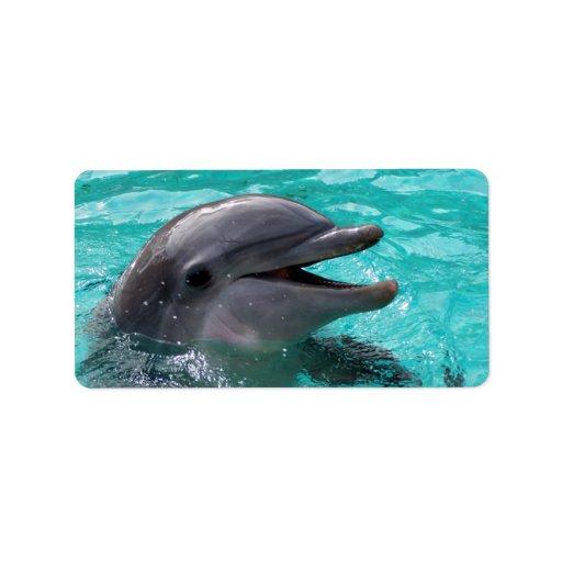 Dolphin head in aquamarine water custom address label