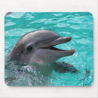 Dolphin head in aquamarine water mouse pad