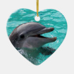 Dolphin head in aquamarine water Double-Sided heart ceramic christmas ornament