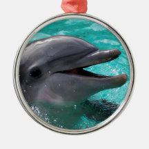 Dolphin head in aquamarine water christmas ornaments