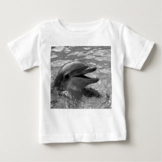 Dolphin head in water mouth open Black and White Baby T-Shirt