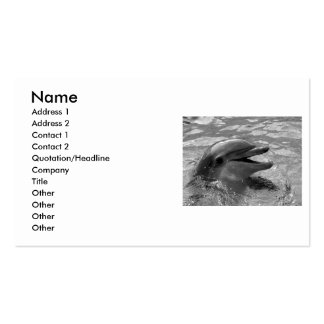 Dolphin head in water mouth open Black and White Double-Sided Standard Business Cards (Pack Of 100)
