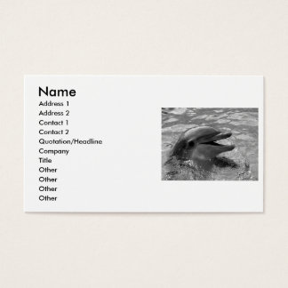 Dolphin head in water mouth open Black and White Business Card