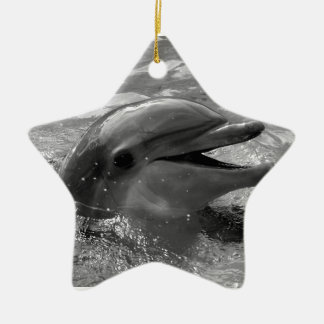 Dolphin head in water mouth open Black and White Christmas Ornaments