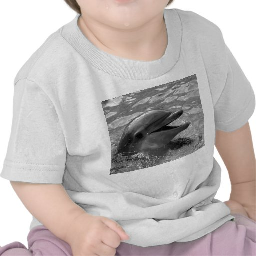 Dolphin head in water mouth open Black and White Tee Shirt