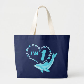 Dolphin Heart 1st Birthday Large Tote Bag