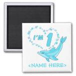 Dolphin Heart 1st Birthday Refrigerator Magnets