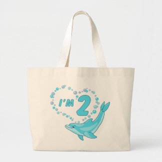 Dolphin Heart 2nd Birthday Large Tote Bag