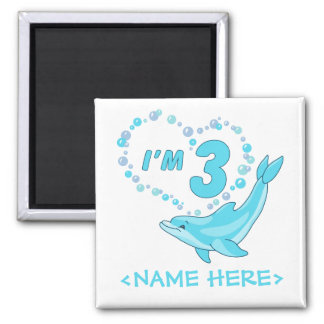 Dolphin Heart 3rd Birthday 2 Inch Square Magnet