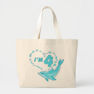 Dolphin Heart 4th Birthday Tote Bags