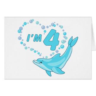 Dolphin Heart 4th Birthday Stationery Note Card