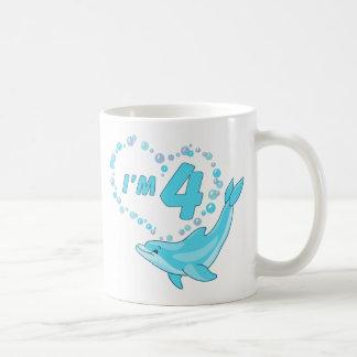 Dolphin Heart 4th Birthday Classic White Coffee Mug