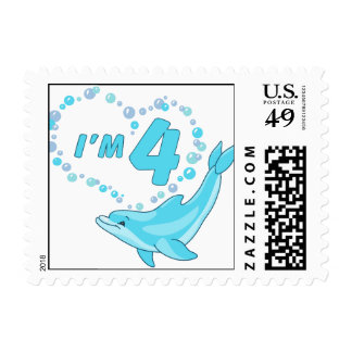 Dolphin Heart 4th Birthday Postage