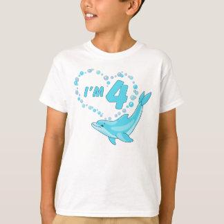 Dolphin Heart 4th Birthday T-Shirt