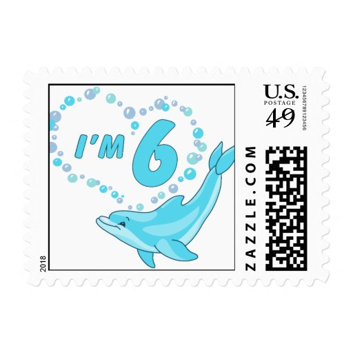 Dolphin Heart 6th Birthday Postage Stamp